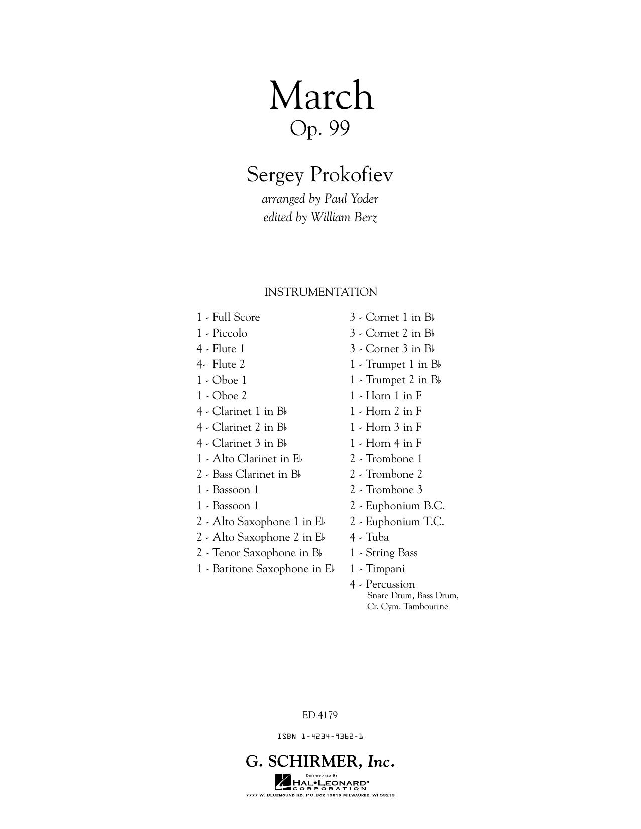 Paul Yoder March, Op. 99 - Conductor Score (Full Score) sheet music notes printable PDF score