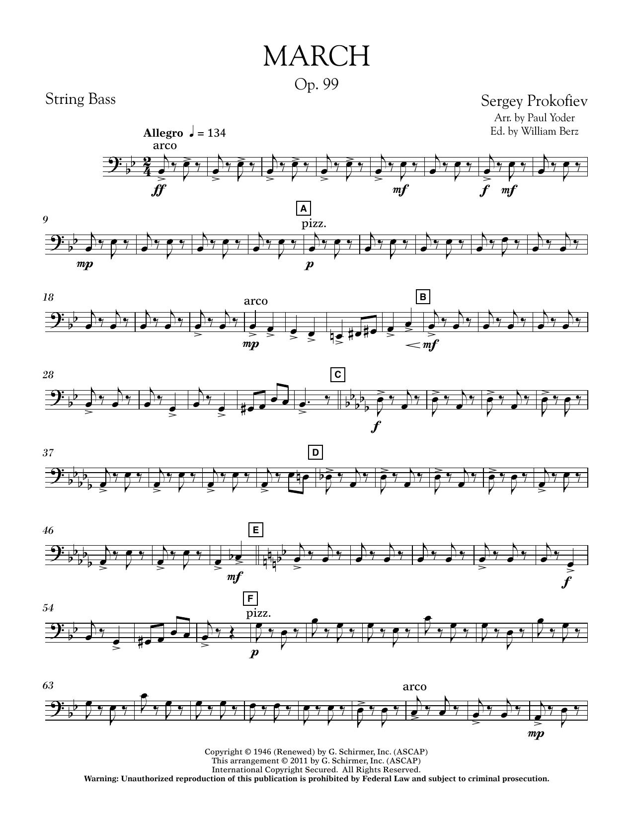 Paul Yoder March, Op. 99 - String Bass sheet music notes printable PDF score