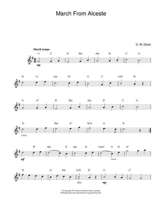 Christoph Willibald von Gluck March From Alceste sheet music notes printable PDF score