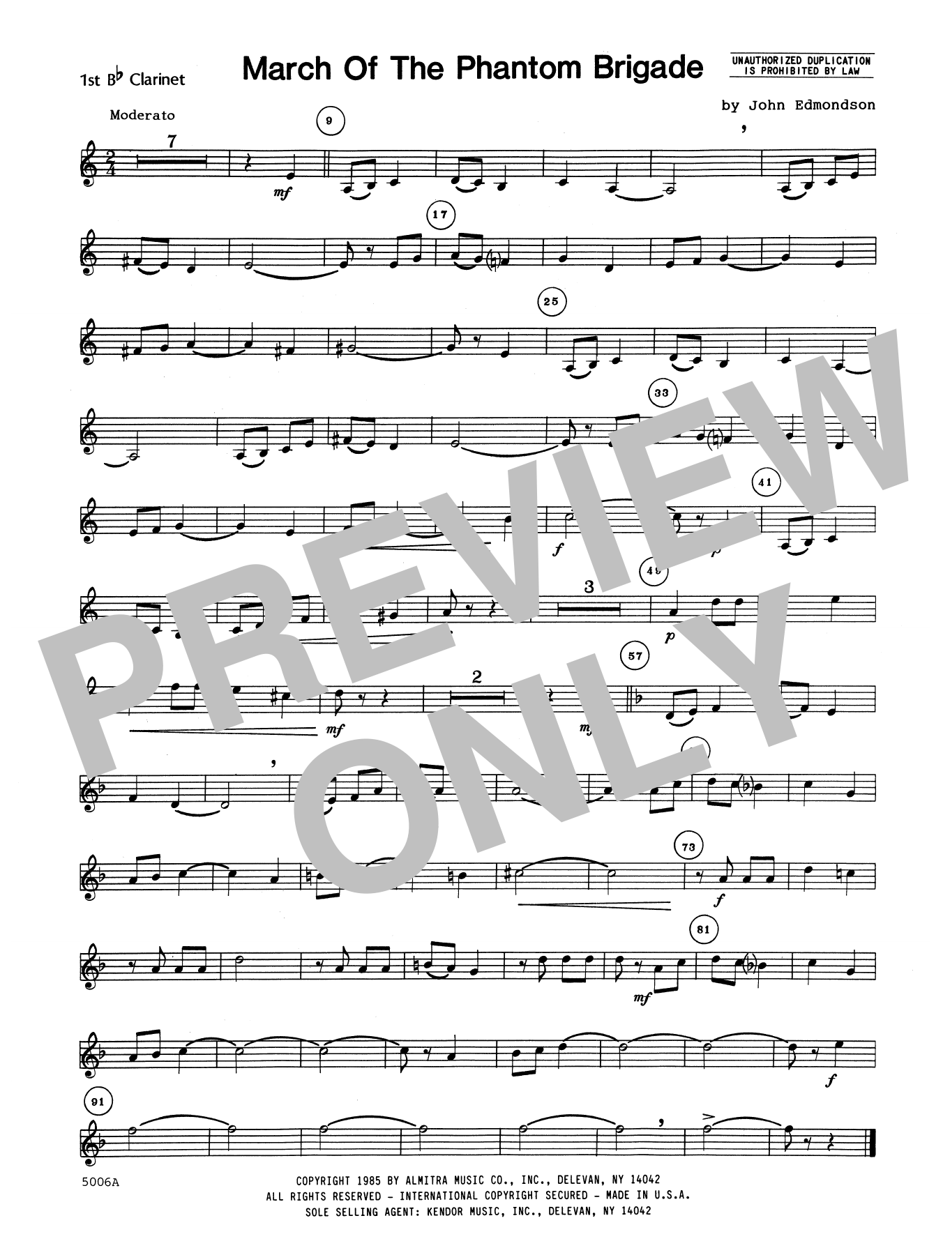 John Edmundson March Of The Phantom Brigade - 1st Bb Clarinet sheet music notes printable PDF score