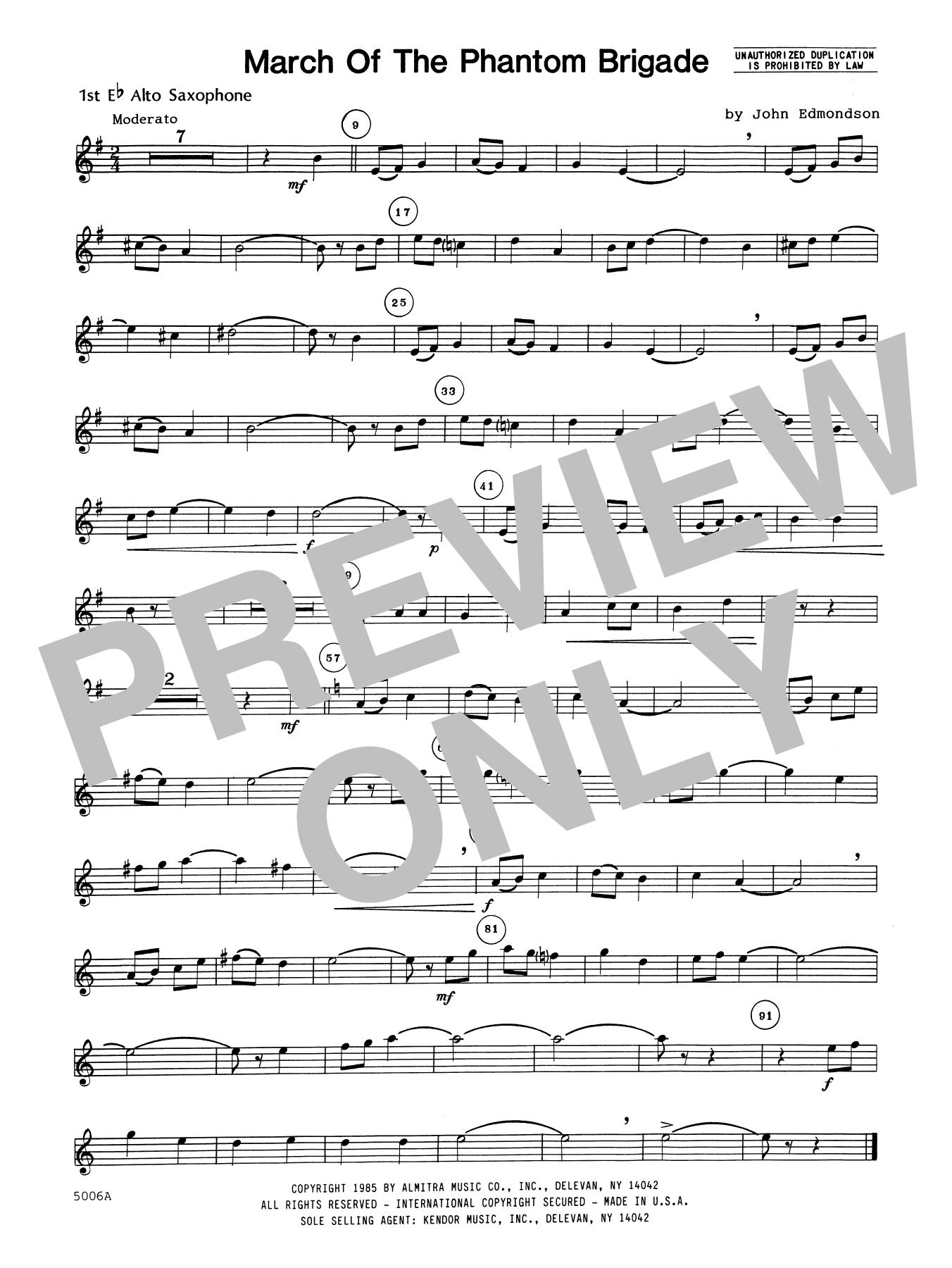John Edmundson March Of The Phantom Brigade - 1st Eb Alto Saxophone sheet music notes printable PDF score