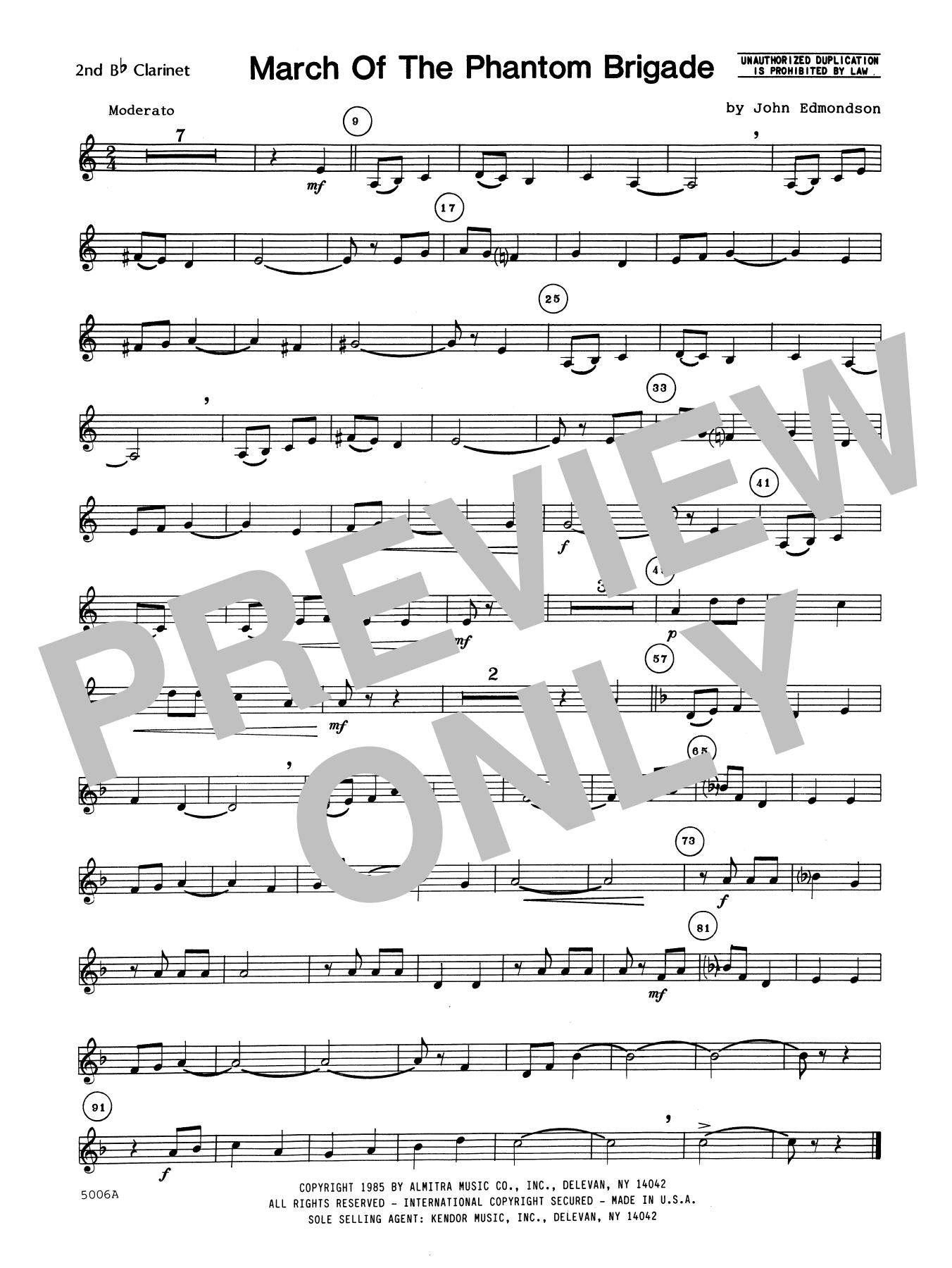 John Edmundson March Of The Phantom Brigade - 2nd Bb Clarinet sheet music notes printable PDF score