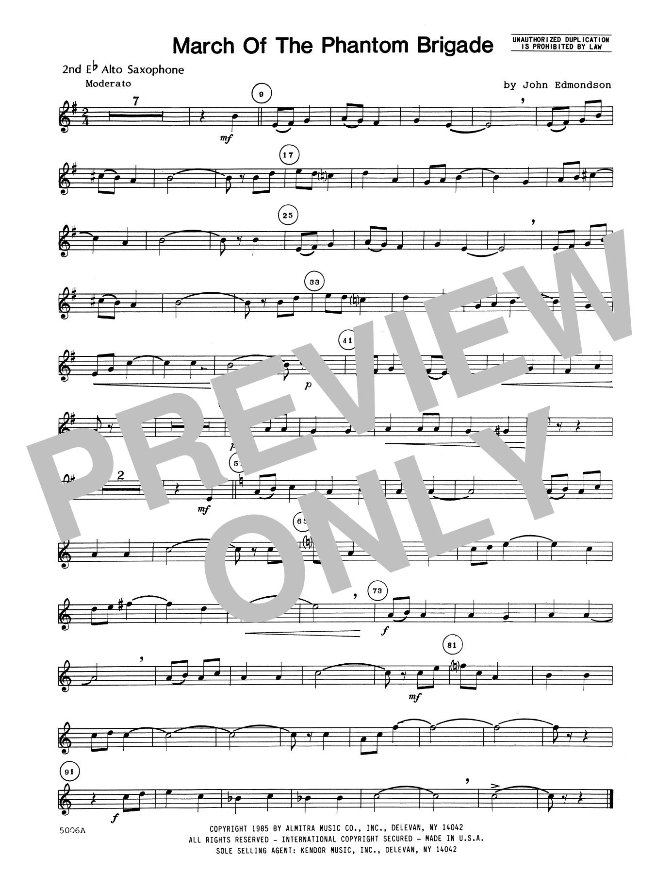 John Edmundson March Of The Phantom Brigade - 2nd Eb Alto Saxophone sheet music notes printable PDF score