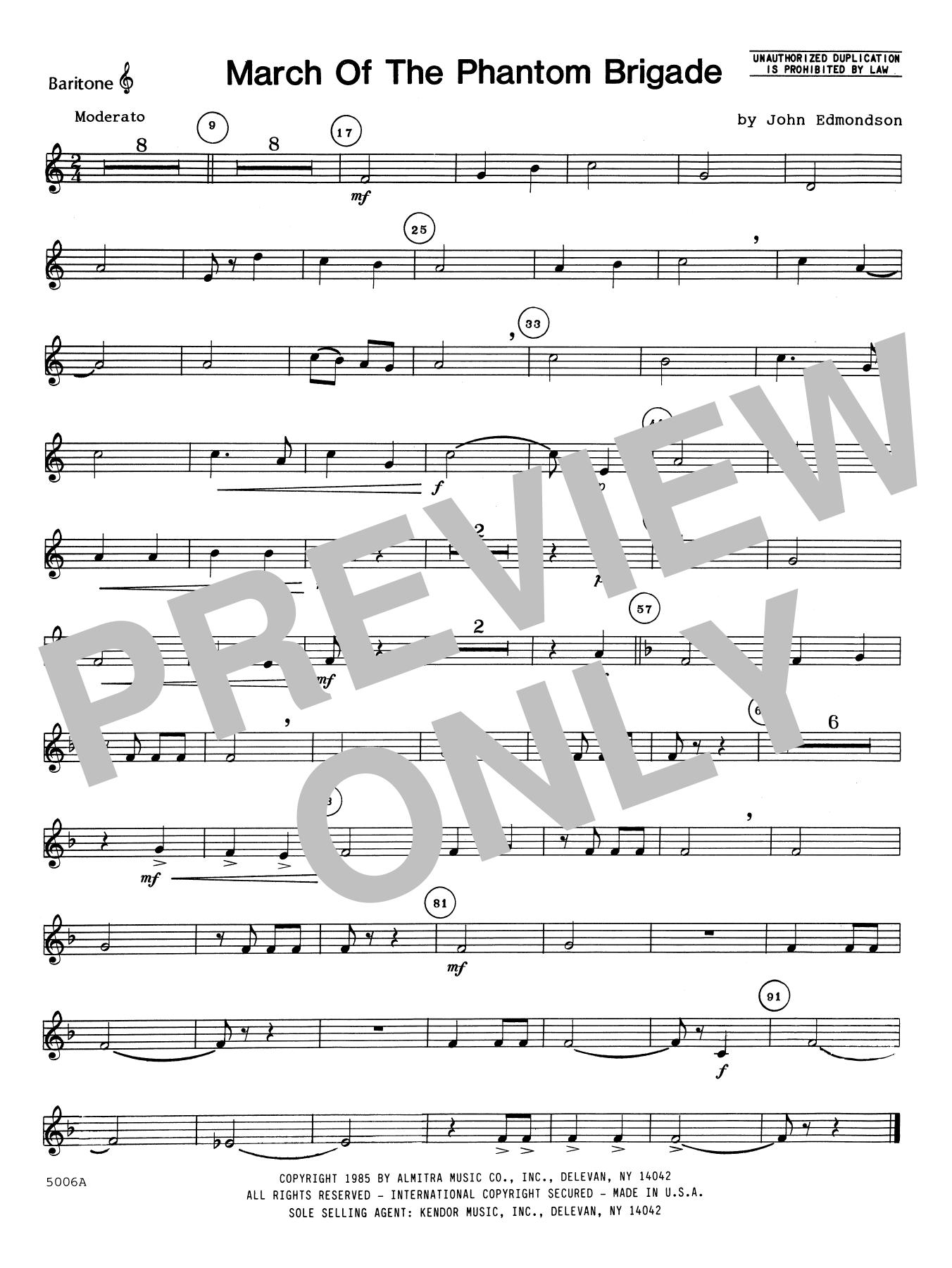 John Edmundson March Of The Phantom Brigade - Baritone T.C. sheet music notes printable PDF score