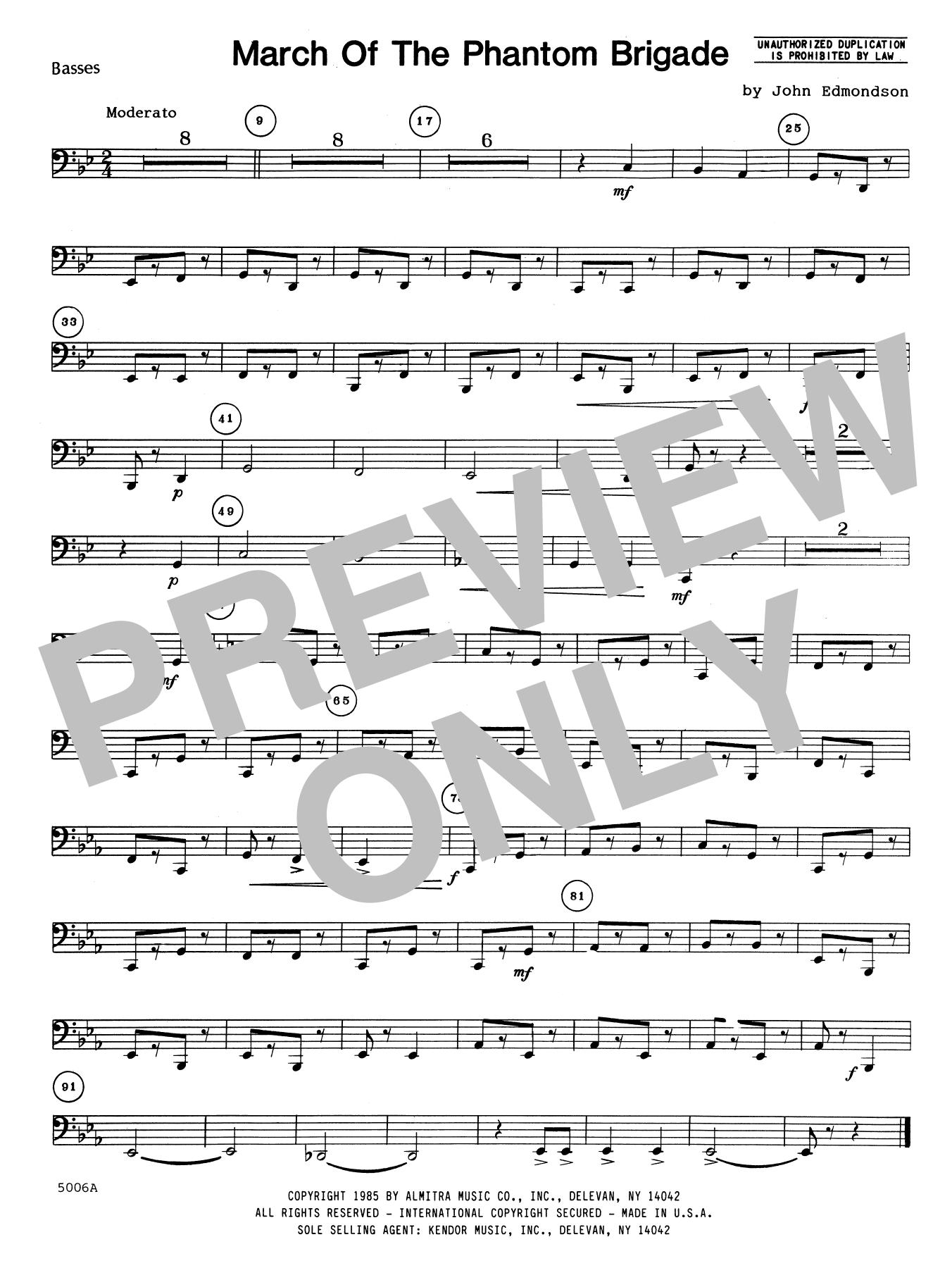 John Edmundson March Of The Phantom Brigade - Bass sheet music notes printable PDF score