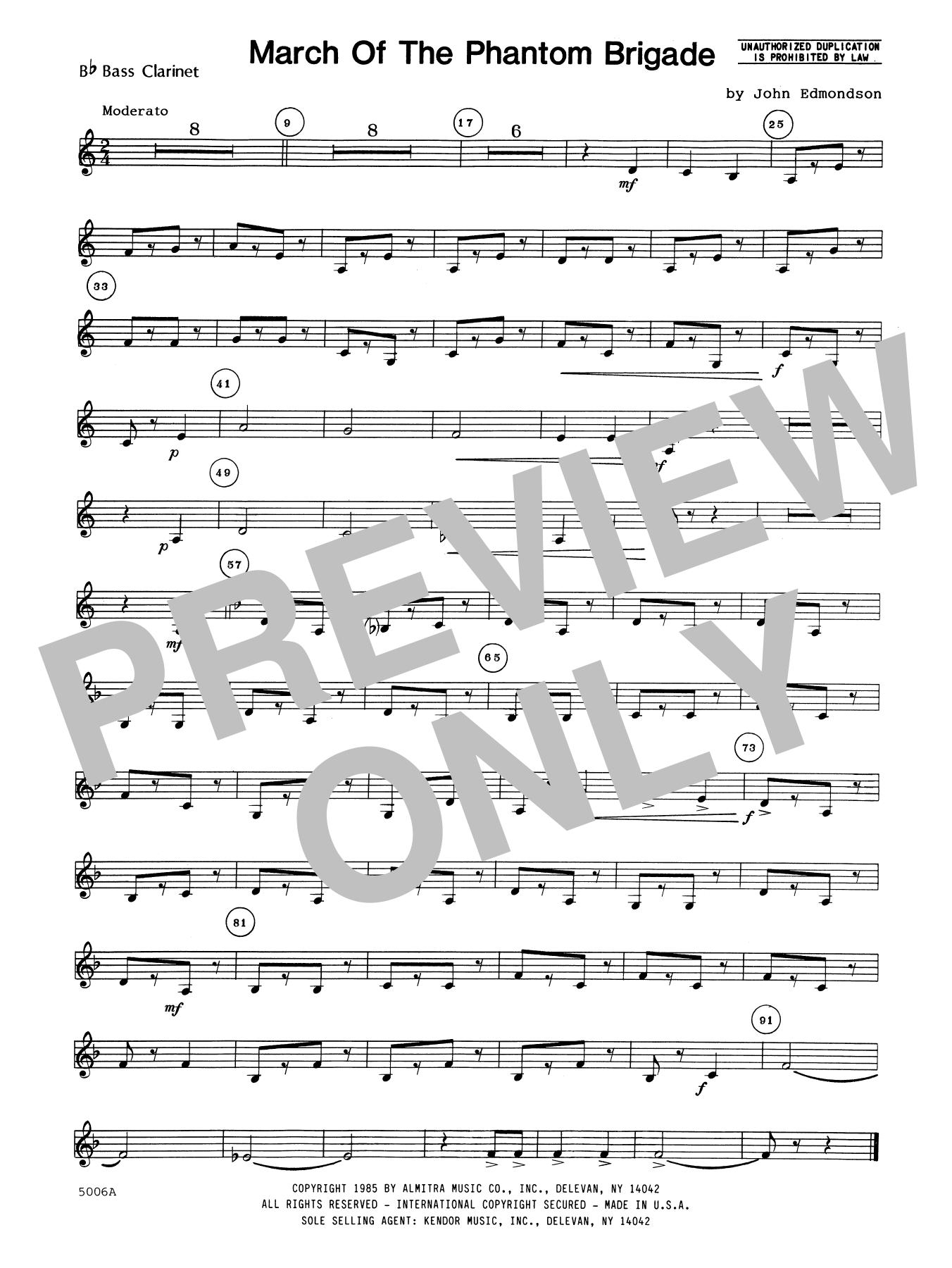 John Edmundson March Of The Phantom Brigade - Bb Bass Clarinet sheet music notes printable PDF score