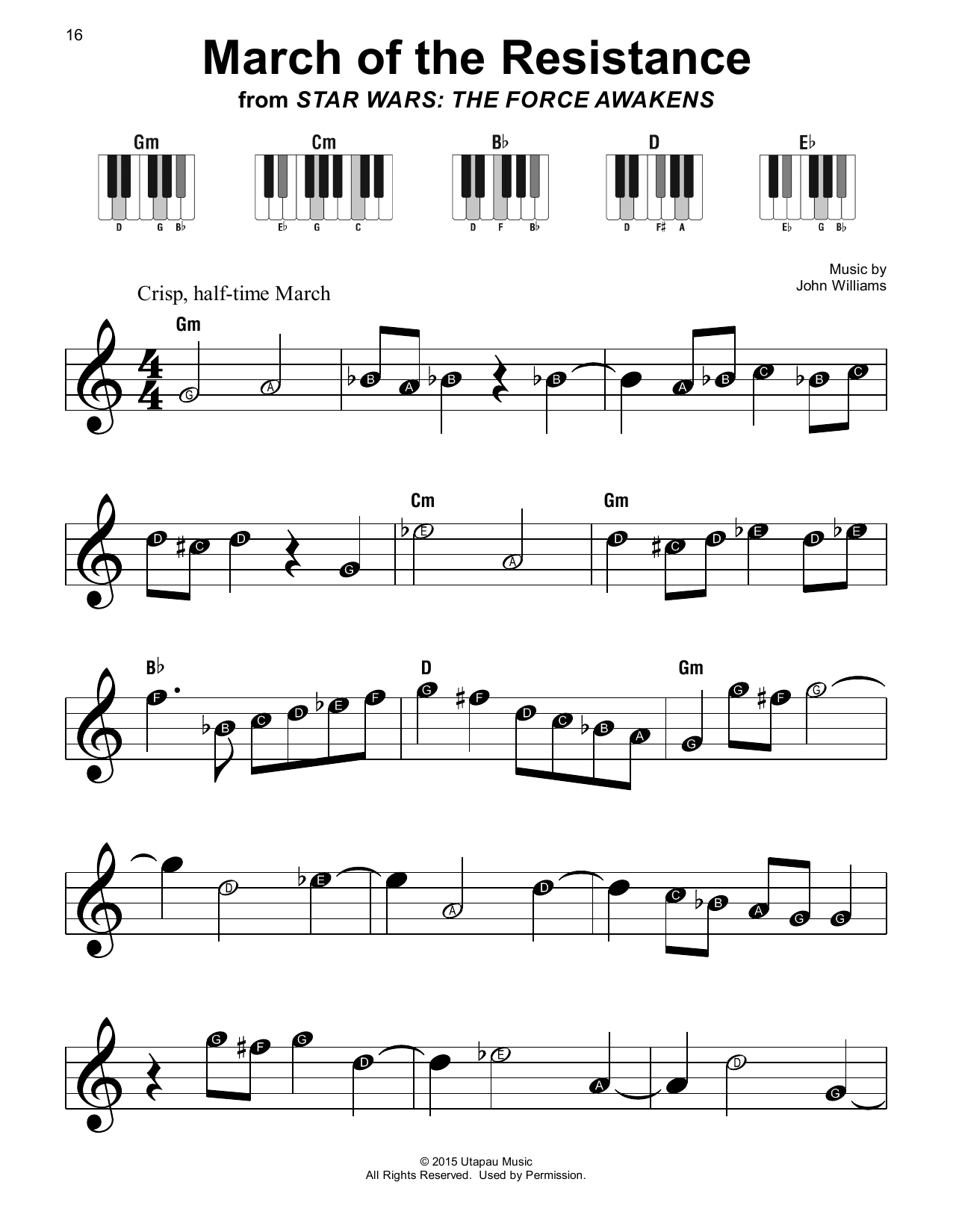 John Williams March Of The Resistance (from Star Wars: The Force Awakens) sheet music notes printable PDF score