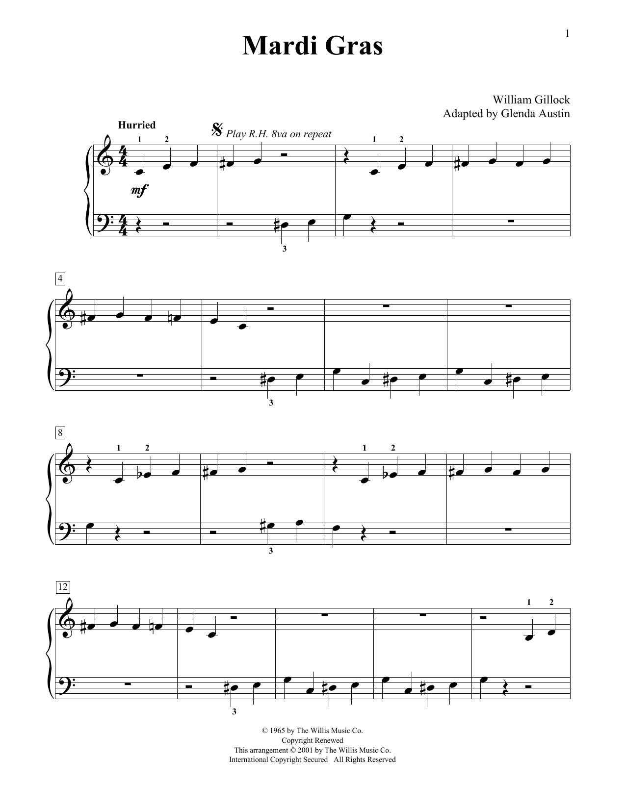 William Gillock Mardi Gras (Simplified) (adapted by Glenda Austin) sheet music notes printable PDF score