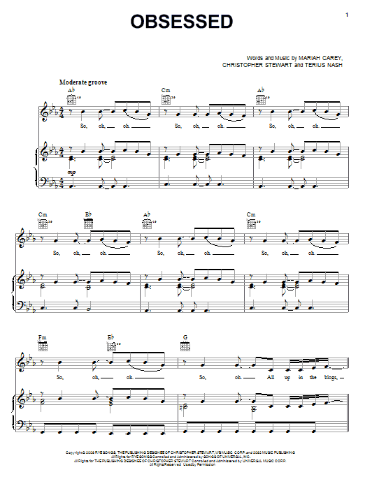 Mariah Carey Obsessed sheet music notes and chords. Download Printable PDF.
