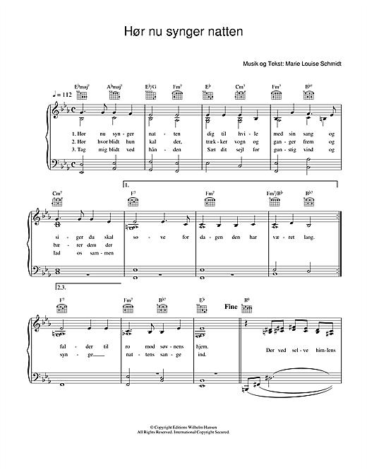 Marie Louise Schmidt Hør Nu Synger Natten sheet music notes printable PDF score