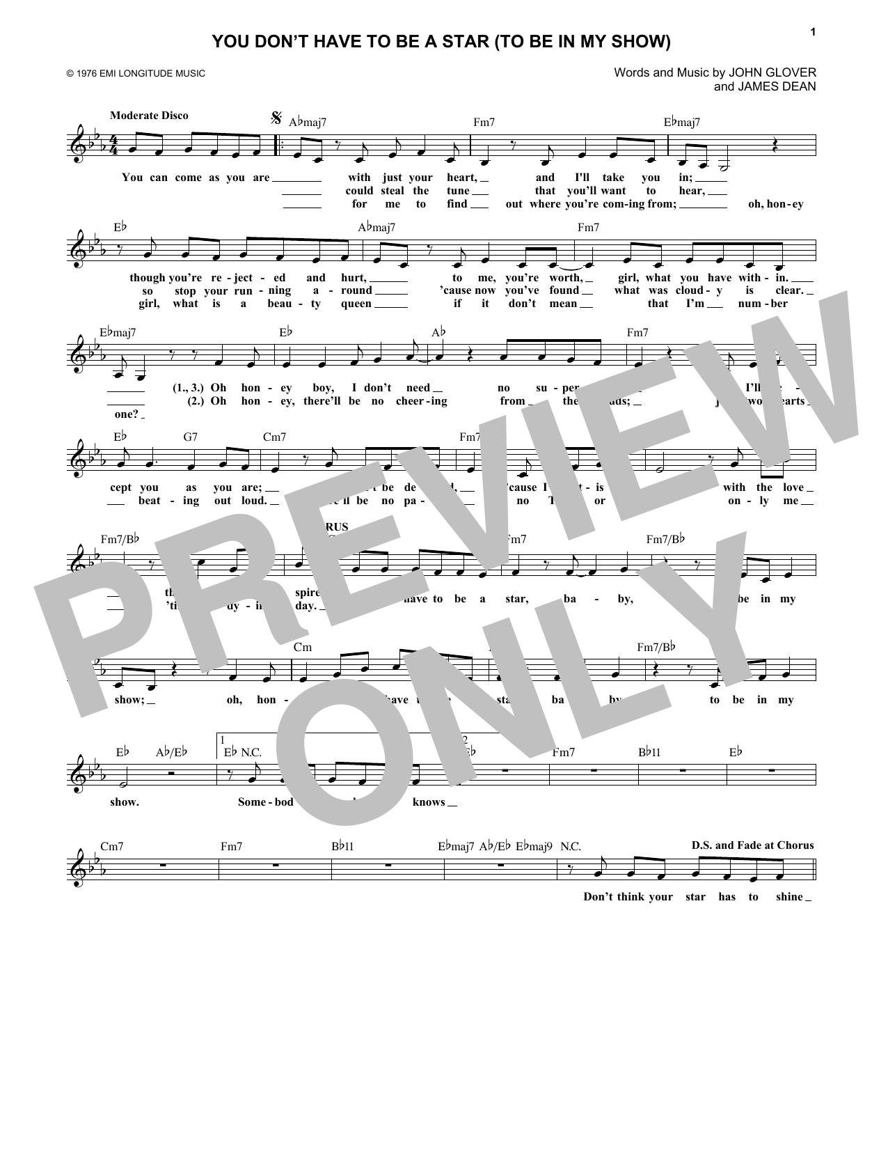 Marilyn McCoo and Billy Davis, Jr. You Don't Have To Be A Star (To Be In My Show) sheet music notes and chords. Download Printable PDF.
