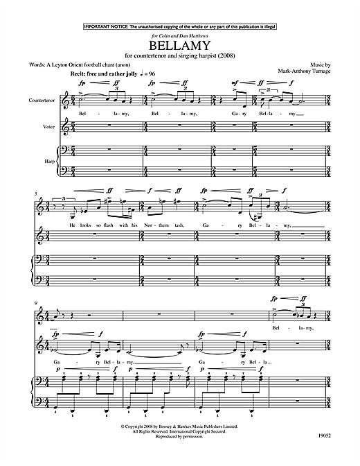Mark-Anthony Turnage Bellamy (for counter-tenor, tenor & harp) sheet music notes printable PDF score