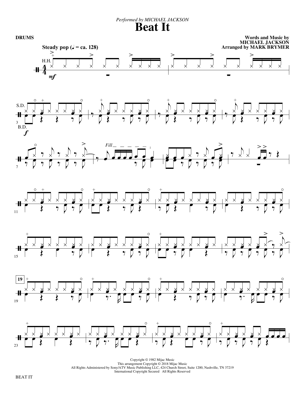 Mark Brymer Beat It - Drums sheet music notes and chords. Download Printable PDF.