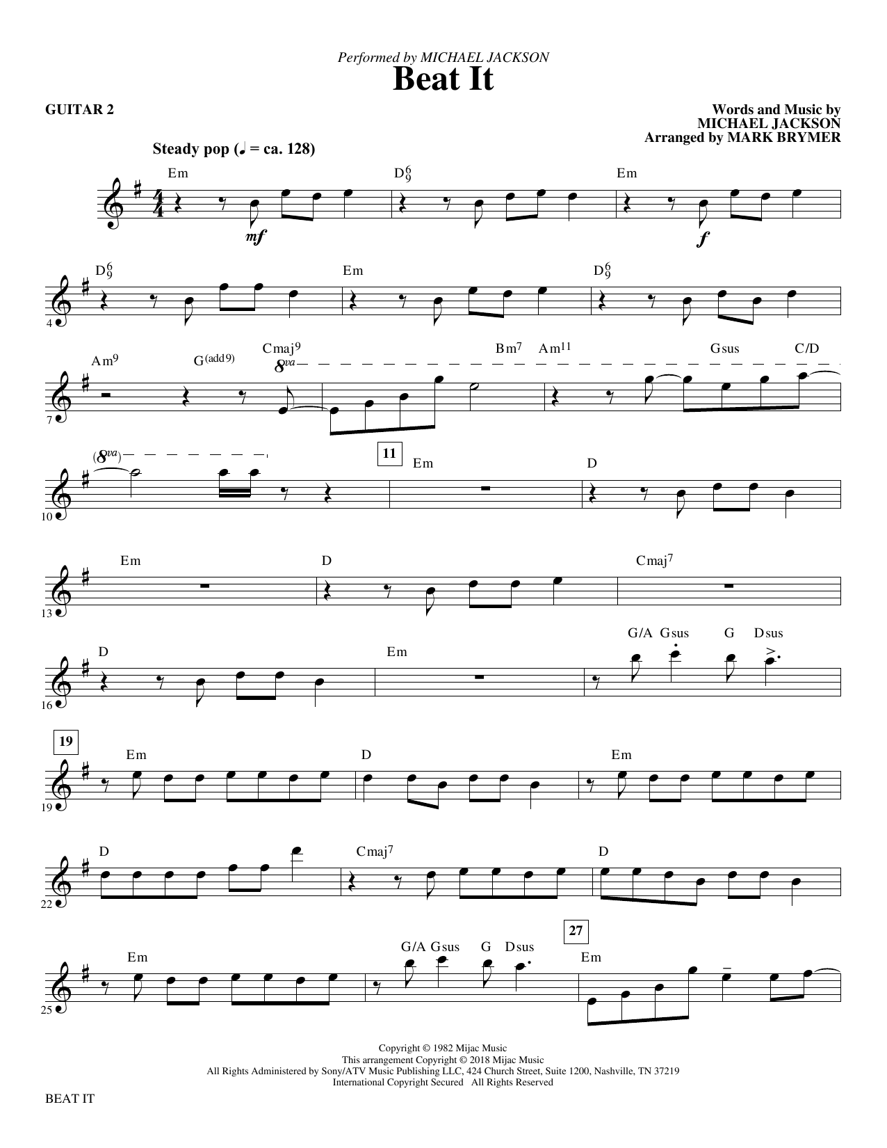 Mark Brymer Beat It - Guitar 2 sheet music notes and chords. Download Printable PDF.
