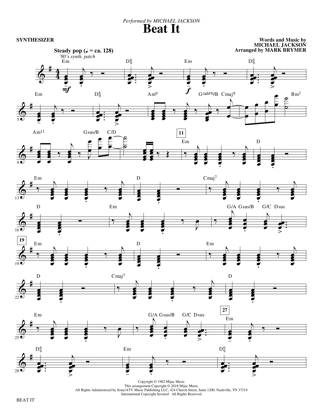Mark Brymer Beat It - Synthesizer sheet music notes and chords. Download Printable PDF.