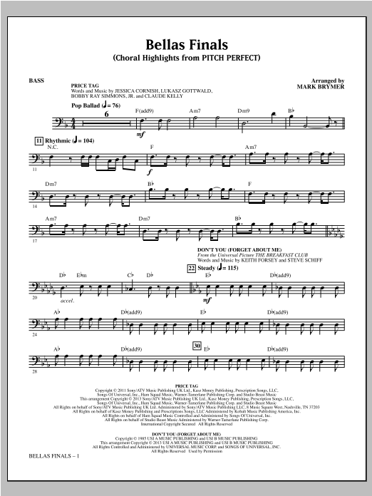 Mark Brymer Bellas Finals - Bass sheet music notes and chords. Download Printable PDF.