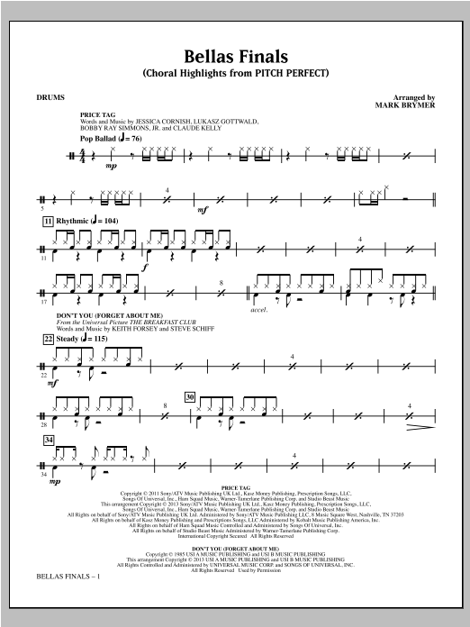 Mark Brymer Bellas Finals - Drums sheet music notes and chords. Download Printable PDF.