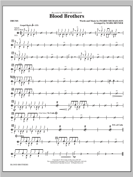 Mark Brymer Blood Brothers - Drums sheet music notes and chords. Download Printable PDF.