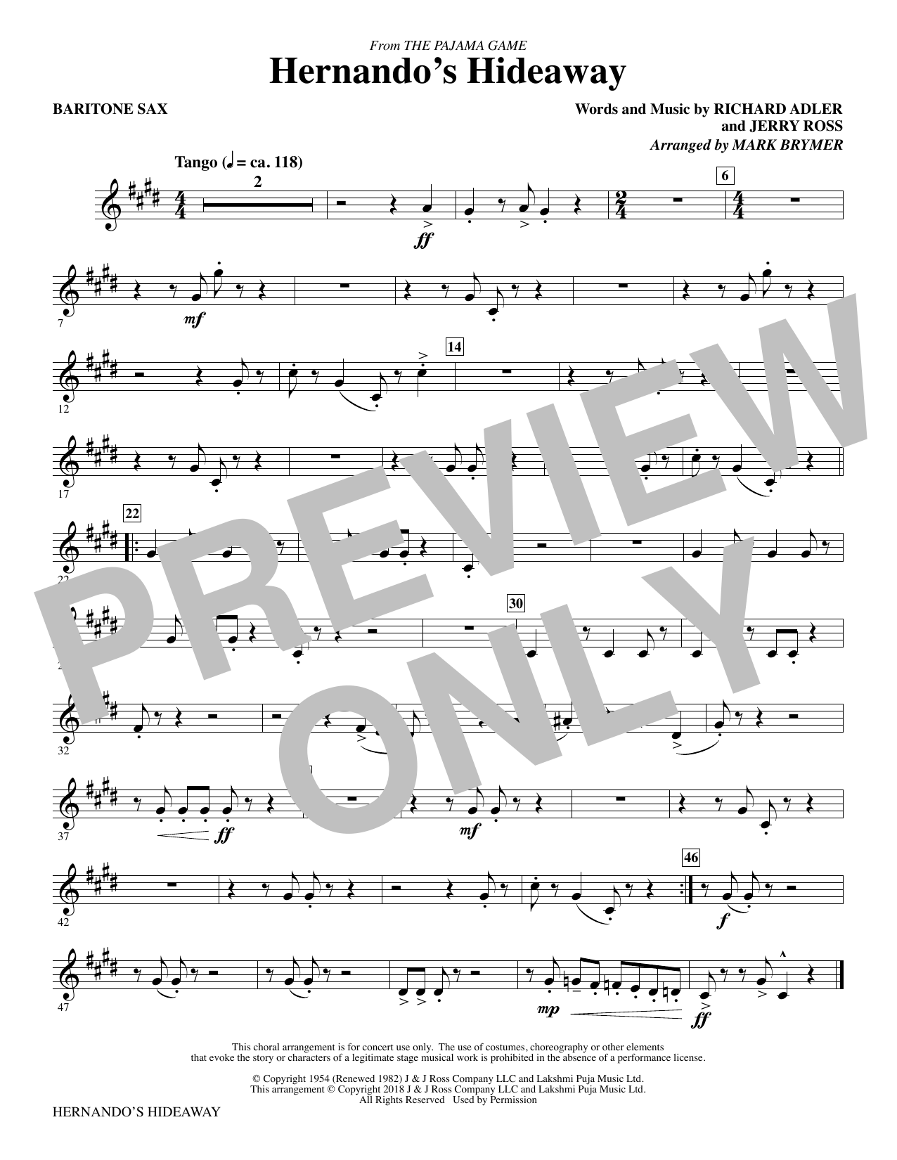 Mark Brymer Hernando's Hideaway - Baritone Sax sheet music notes and chords. Download Printable PDF.