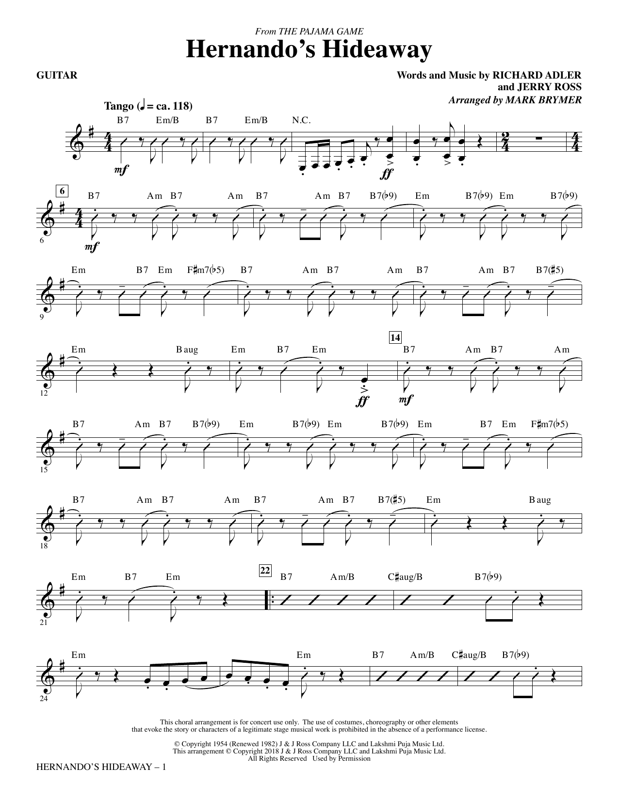 Mark Brymer Hernando's Hideaway - Guitar sheet music notes and chords. Download Printable PDF.