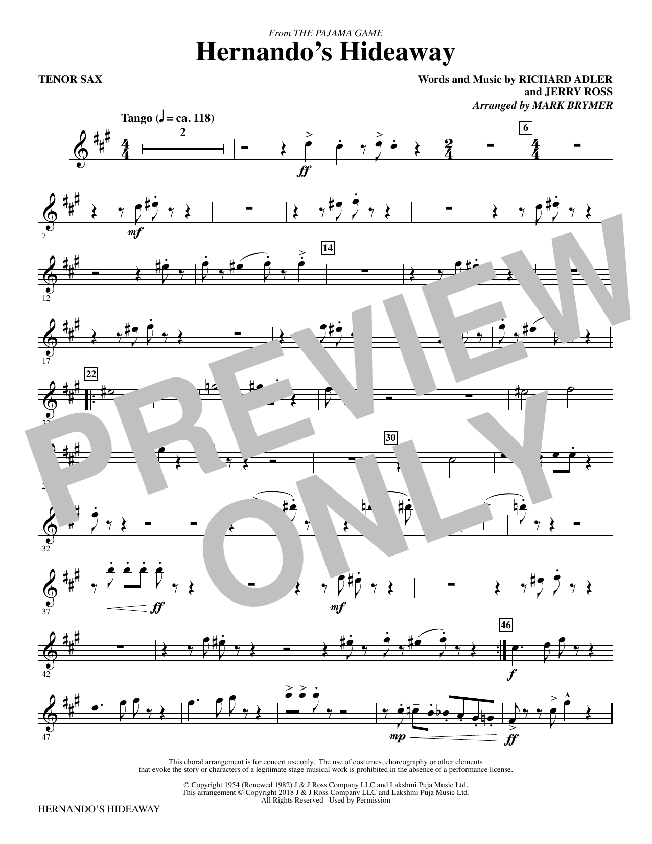 Mark Brymer Hernando's Hideaway - Tenor Sax sheet music notes and chords. Download Printable PDF.