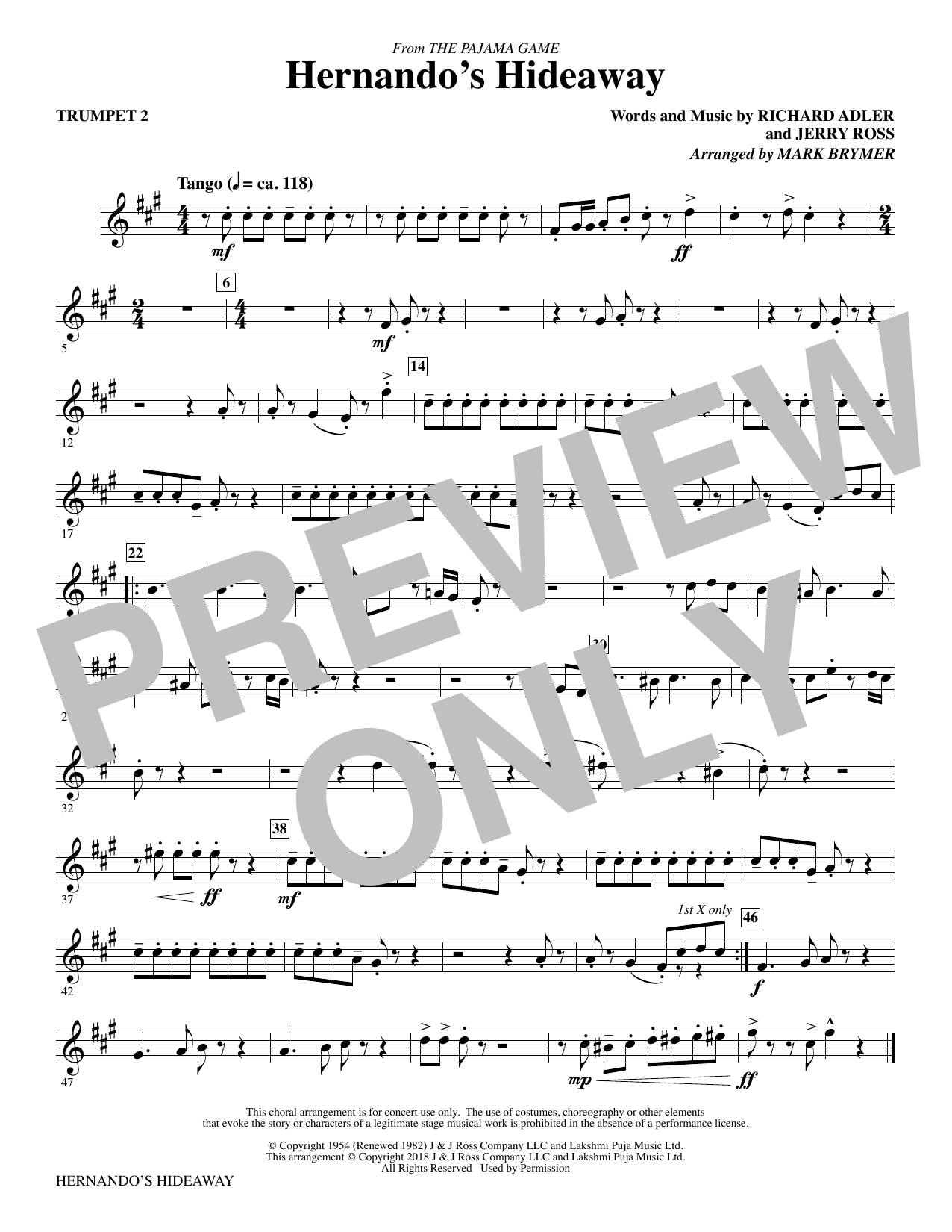 Mark Brymer Hernando's Hideaway - Trumpet 2 sheet music notes and chords. Download Printable PDF.