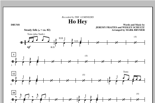 Mark Brymer Ho Hey - Drums sheet music notes and chords. Download Printable PDF.