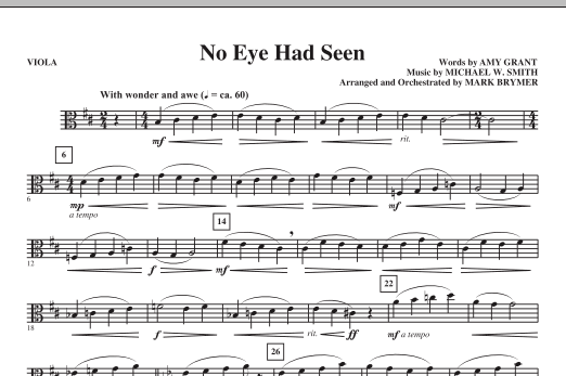 Mark Brymer No Eye Had Seen - Viola sheet music notes printable PDF score