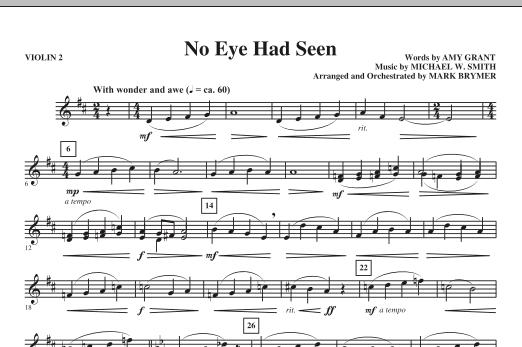Mark Brymer No Eye Had Seen - Violin 2 sheet music notes printable PDF score