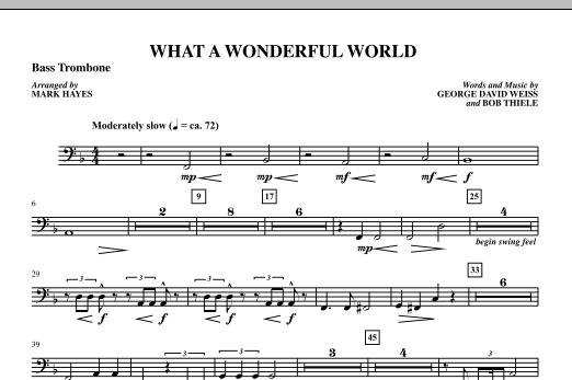 Mark Hayes What A Wonderful World - Bass Trombone sheet music notes printable PDF score