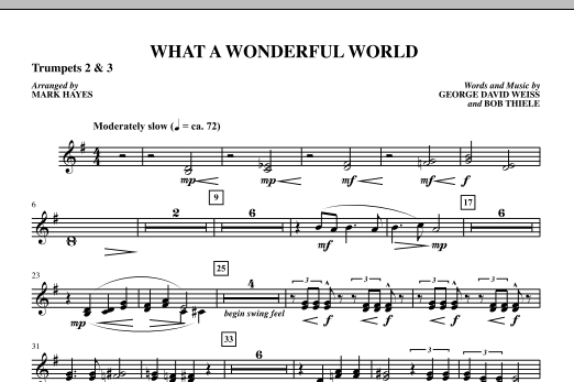 Mark Hayes What A Wonderful World - Bb Trumpet 2,3 sheet music notes printable PDF score