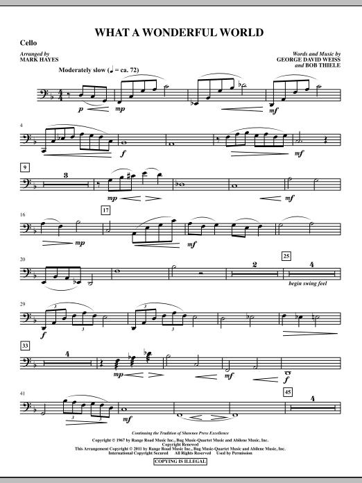 Mark Hayes What A Wonderful World - Cello sheet music notes printable PDF score
