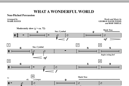 Mark Hayes What A Wonderful World - Percussion III sheet music notes printable PDF score