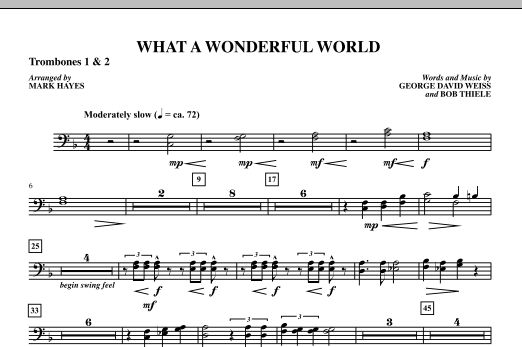 Mark Hayes What A Wonderful World - Trombone 1 & 2 sheet music notes printable PDF score