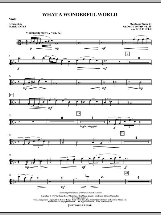 Mark Hayes What A Wonderful World - Viola sheet music notes printable PDF score