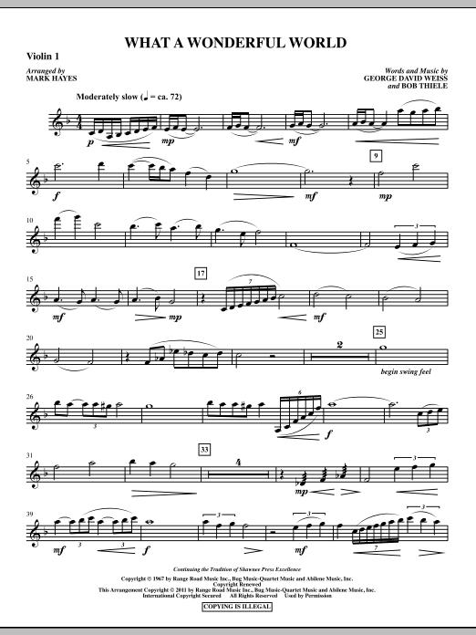 Mark Hayes What A Wonderful World - Violin 1 sheet music notes printable PDF score