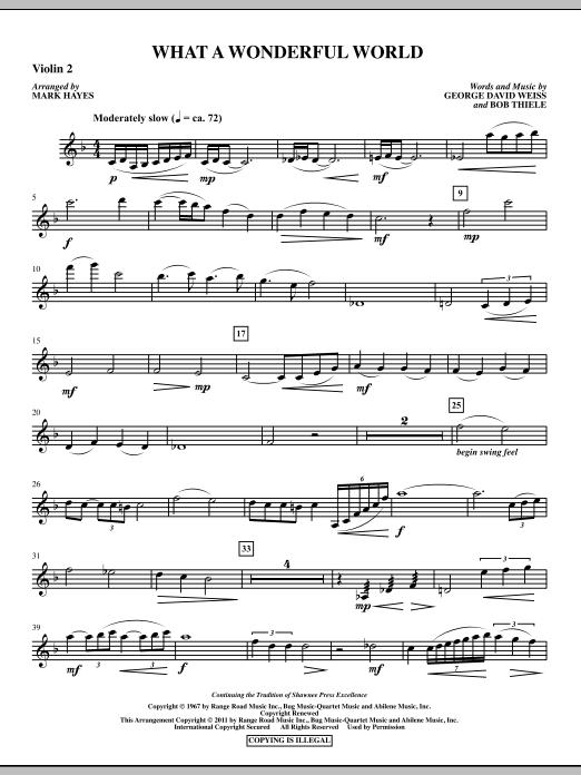 Mark Hayes What A Wonderful World - Violin 2 sheet music notes printable PDF score