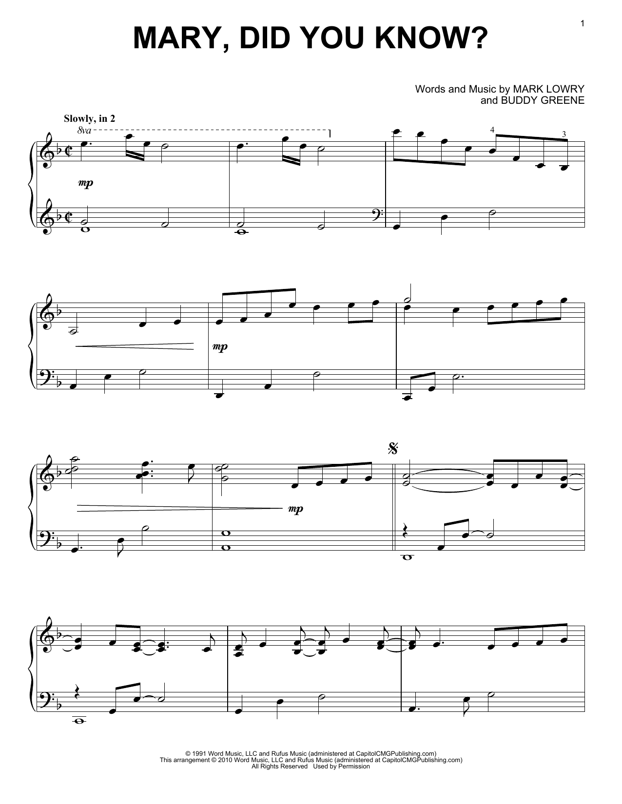 Mark Lowry Mary, Did You Know? sheet music notes and chords. Download Printable PDF.