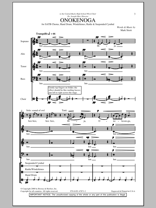 Mark Sirett Onokenoga sheet music notes and chords. Download Printable PDF.