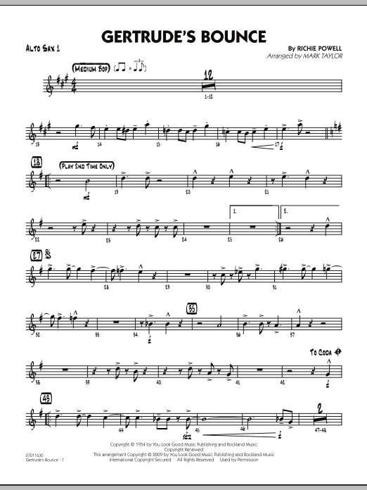 Mark Taylor Gertrude's Bounce - Alto Sax 1 sheet music notes and chords. Download Printable PDF.