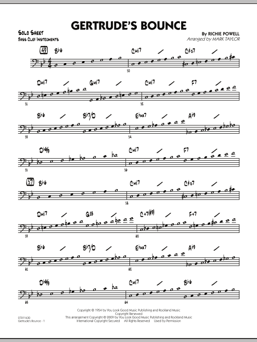 Mark Taylor Gertrude's Bounce - Bass Clef Solo Sheet sheet music notes and chords. Download Printable PDF.