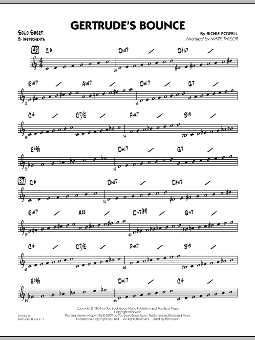Mark Taylor Gertrude's Bounce - Bb Solo Sheet sheet music notes and chords. Download Printable PDF.