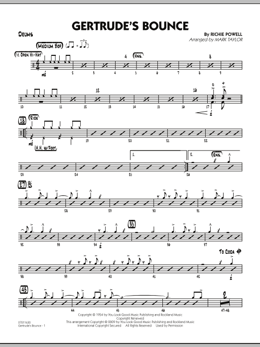 Mark Taylor Gertrude's Bounce - Drums sheet music notes and chords. Download Printable PDF.