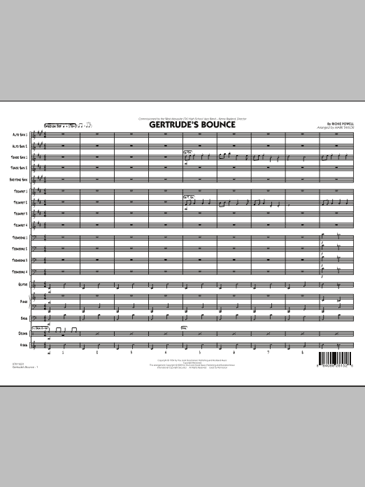 Mark Taylor Gertrude's Bounce - Full Score sheet music notes and chords. Download Printable PDF.