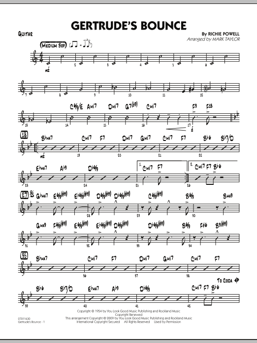 Mark Taylor Gertrude's Bounce - Guitar sheet music notes and chords. Download Printable PDF.