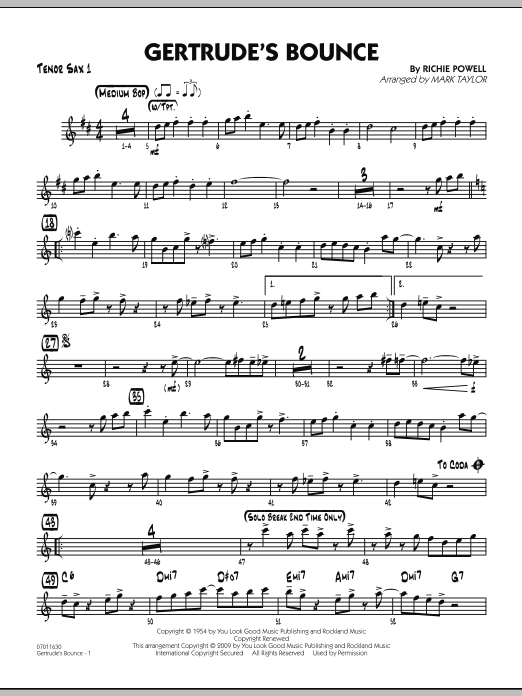 Mark Taylor Gertrude's Bounce - Tenor Sax 1 sheet music notes and chords. Download Printable PDF.