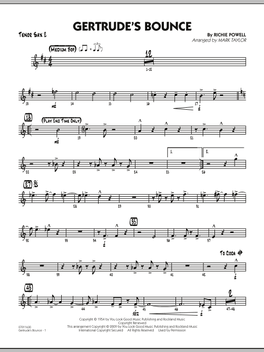 Mark Taylor Gertrude's Bounce - Tenor Sax 2 sheet music notes and chords. Download Printable PDF.