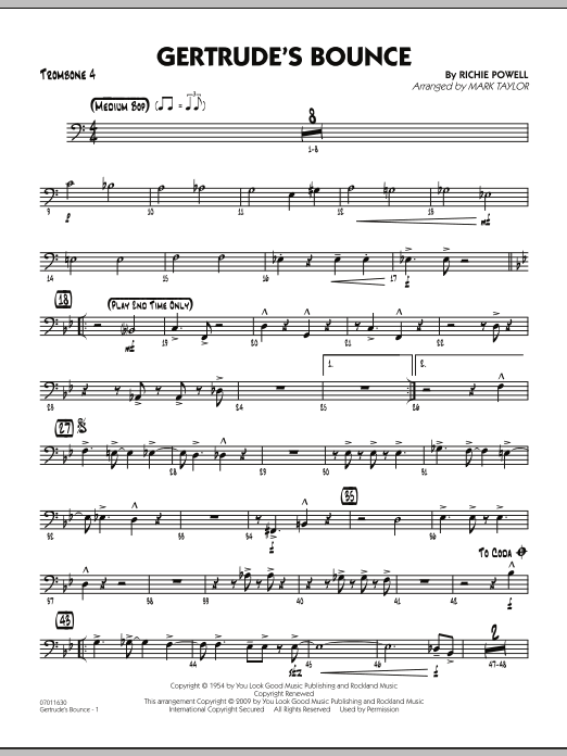 Mark Taylor Gertrude's Bounce - Trombone 4 sheet music notes and chords. Download Printable PDF.