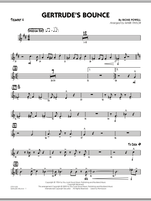 Mark Taylor Gertrude's Bounce - Trumpet 4 sheet music notes and chords. Download Printable PDF.