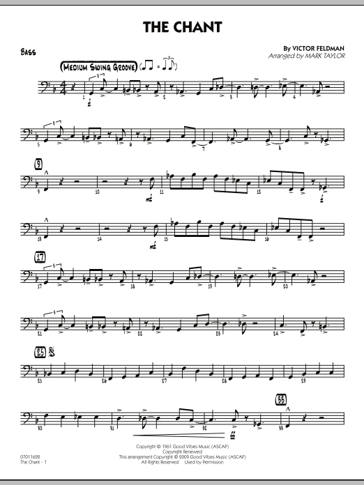 Mark Taylor The Chant - Bass sheet music notes and chords. Download Printable PDF.